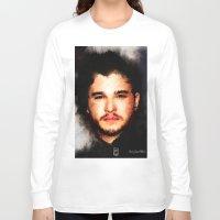 john snow Long Sleeve T-shirts featuring Kit Harrington aka John Snow by André Joseph Martin