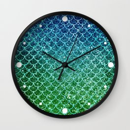 Mermaid Blue & Green Glitter Ombre Scales Wall Clock