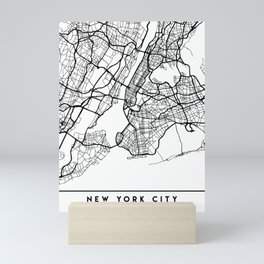 NEW YORK CITY NEW YORK BLACK CITY STREET MAP ART Mini Art Print