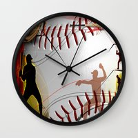 baseball Wall Clocks featuring Baseball by Robin Curtiss
