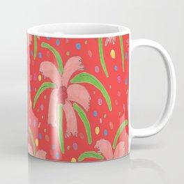 Red Tropical Fiesta Floral Print Coffee Mug