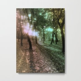 Forest by dawn in green, yellow and fuchsia light Metal Print