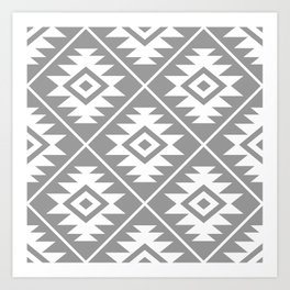 Aztec Symbol Pattern White on Gray Art Print