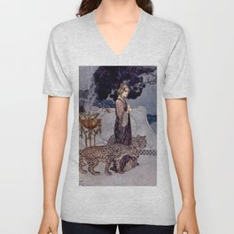 """Circe With Leopards"" by Edmund Dulac Unisex V-Neck"