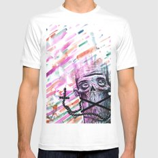No words White MEDIUM Mens Fitted Tee