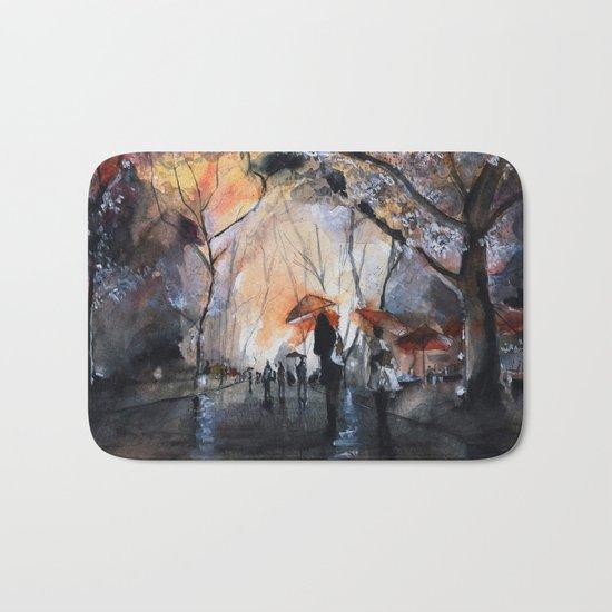 Watercolor painting - Autumn rain - Bath Mat