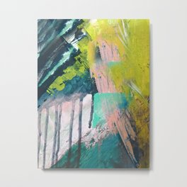 Melt: a vibrant abstract mixed media piece in blues, greens, pink, and white Metal Print
