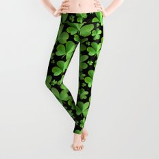 Clovers on Black Leggings