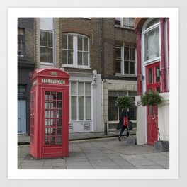 The lady with the red bag London street view  city UK Art Print