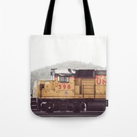 train Tote Bags featuring Train by Kristine Ridley Weilert
