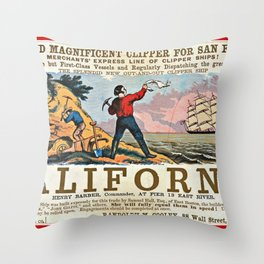 A NEW AND MAGNIFICENT CLIPPER FOR SAN FRANCISCO. MERCHANT'S EXPRESS LINE OF CLIPPER SHIPS! Throw Pillow