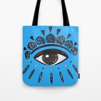 kenzo Tote Bags featuring Kenzo eye blue by cvrcak