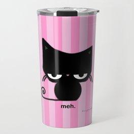Meh Cat on Pink Stripes Travel Mug