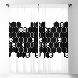 Honey Skulls - Black & White Blackout Curtain
