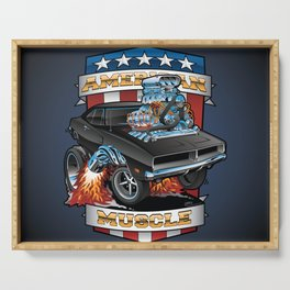 American Muscle Patriotic Classic Muscle Car Cartoon Illustration Serving Tray