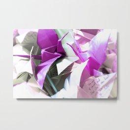 Senbazuru | pink n silver Metal Print