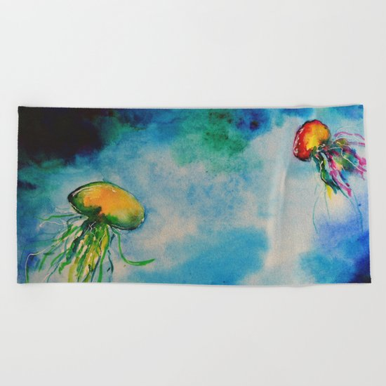 Underwater life Beach Towel