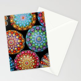 Colorful Mandala painted stones Stationery Cards