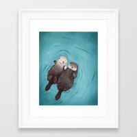 happiness Framed Art Prints featuring Otterly Romantic - Otters Holding Hands by When Guinea Pigs Fly