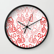 Red and Pink Ombre Heart Design Wall Clock