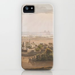 Vintage Cairo Egypt & Giza Pyramids Illustation iPhone Case