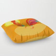 Orange Rooster Floor Pillow