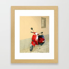 Vespa in Red Framed Art Print