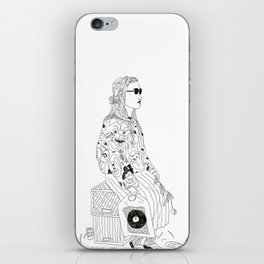 girl with record plastic bag iPhone Skin