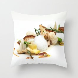 Scalops with mushrooms, cauliflower, coconut and sea asparagus Throw Pillow