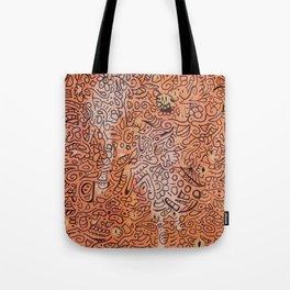 fall vibes orange doodle acrylic wood board Tote Bag
