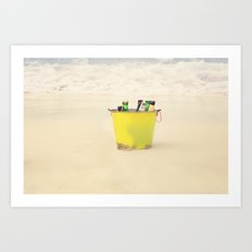 Bucket of Beer on the Beach Art Print