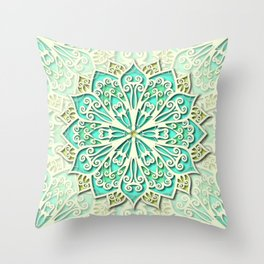 White cyan and yellow Beautiful Wedding Mandala Throw Pillow
