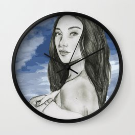 Portrait Bella Hadid Wall Clock