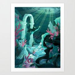 Mermaids of the Black Lagoon Art Print