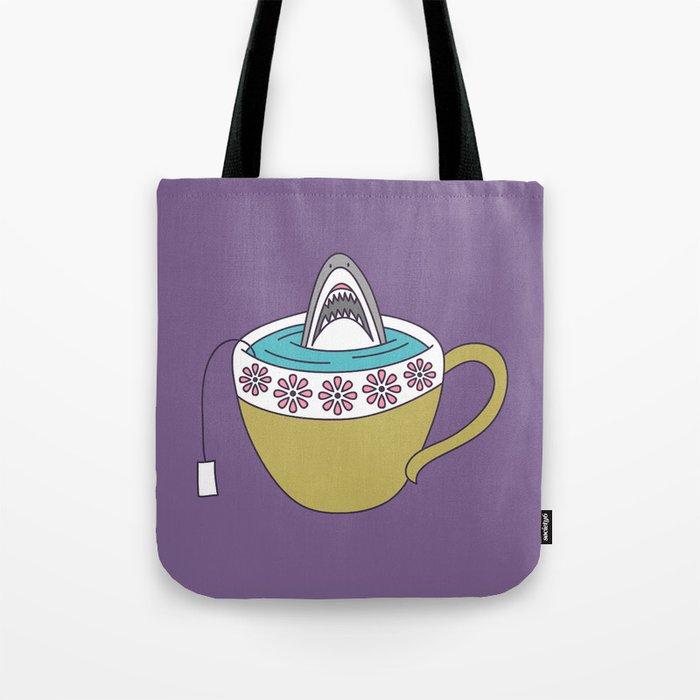 Shark in Tea Tote Bag