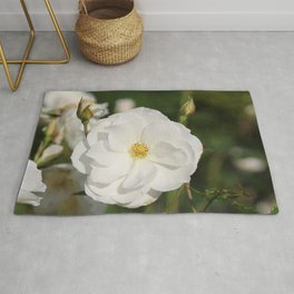 White Flowers and Buds by Reay of Light Photography Rug