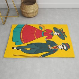 Catrina Couple Mexican Day Of The Dead Rug