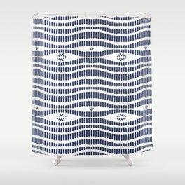 Indigo Pattern - Indigo / Navy & White Shower Curtain