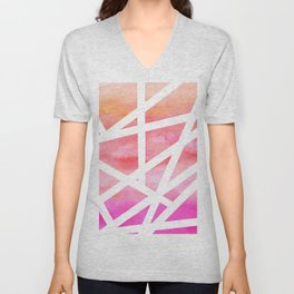 Modern handdrawn stripes geometric pink watercolor Unisex V-Neck
