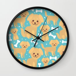 pattern funny golden beige dog and white bones, Kawaii face with large eyes and pink cheeks Wall Clock