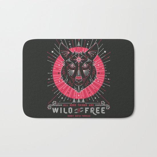 Wild & Free Wolf – Pink & Black Palette Bath Mat
