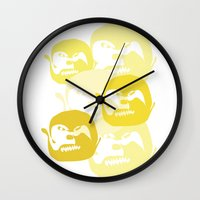 one line Wall Clocks featuring One line by Stefanmp