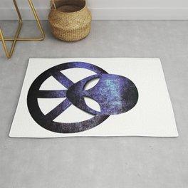 Psychedelic Hippie Alien Aqua Peace Sign Gift  design Rug