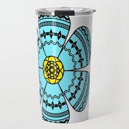 Hippie Geometric Flower Travel Mug