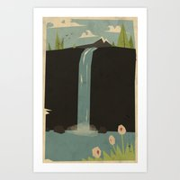waterfall Art Prints featuring waterfall by Yetiland
