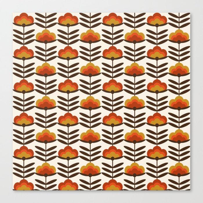 Boogie - retro florals minimal trendy 70s style throwback flower pattern Leinwanddruck