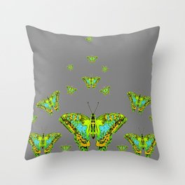 BLUE-GREEN-YELLOW PATTERNED MOTHS ON GREY Throw Pillow