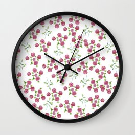 Watercolor roses on white backgroung Wall Clock