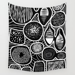 Black and white pattern - linogravure style Wall Tapestry