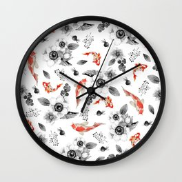 Colorful orange black white watercolor floral koi fish Wall Clock